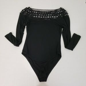 Shein Black Filigree Leotard Bodysuit Size Small